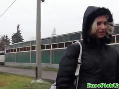 European girl got fucked for cash in doggystyle