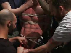 Muscled mechanic bound fucked from both ends