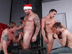 Sexy gay boys have a christmas feast