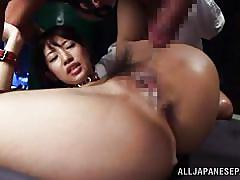 Japanese slut dominated by four horny men