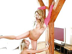 Angelic lesbians turn into horny tigresses