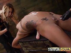 Mean mistresses torture a helpless slave