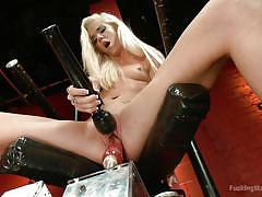 Dildo is not enough for blond's pussy