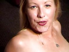 Cuckold hubby records his blonde wife get bukkake