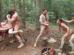 Five horny boys fuck each other in the outback