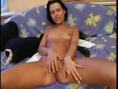 Brunette likes to show off her pussy on camera