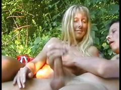 Amateur blonde babe toying her wet pussy