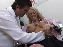 Sexy patient gets her big titties covered with her doctors semen