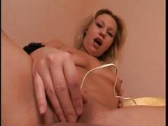 Horny blonde amateur toys pussy and gets fucked