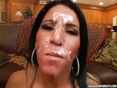 Gorgeous brunette babe blows a hard cock and takes cum on face