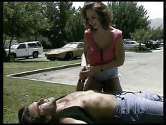 Brunette with monster boobs gets drilled hardcore