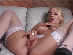 Horny blonde babe fucking dude with her strapon