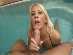 Horny hot blonde babe sucking huge cock pov