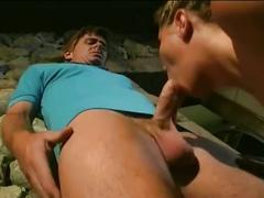 Busty blonde babe sizzling outdoor cock riding