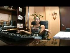 Mocha babe gets banged in the office