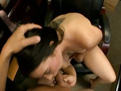 Hot black haired babe pussy fucked hardcore video