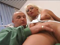 Nasty blonde busty hot momma doctor