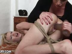 bdsm, blonde, lesbian, toys, novigina, dildo, femdom, painful, slave, torture, young lesbian