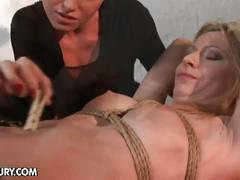 Horny lesbian master tortures bound babe slave