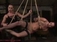 Horny blonde lesbian mistress tied brunette slave