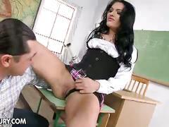 Hot slutty teacher gets two huge cocks