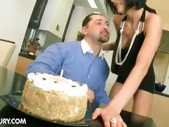 Extreme birthday gift from lustful brunette