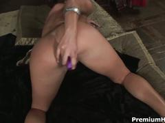 Hot brunette solo bed show with dildo