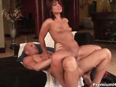 Hot slim brunette gets to suck and fuck hard