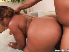 Black chubby slut gets huge fat cock