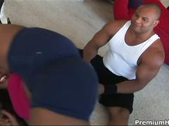 Gym trainer drills black pussy.