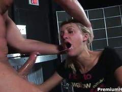 Hot blonde slut sucks huge cock in a bar
