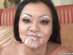 Tight asian gets double hardcore action