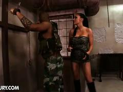 Busty brunette master and her black cock slave