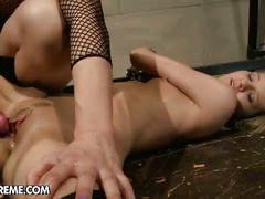 Blonde mistress screws her slave girl