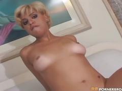 Nasty blonde babe opens sweet ass for hot ramming