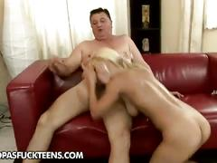 Blonde slut rides on her sugar daddy