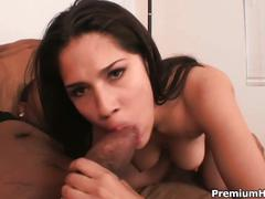 Hot brunette gets a monster black cock inside