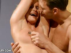 Horny hunk torturing tied gorgeous blonde slave