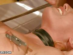 bdsm, blonde, fetish, hardcore, babe, big dick, blow job, bondage, painful, slave, sucking, torture
