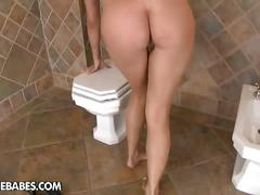 Hot pussy in stockings inside the bathroom