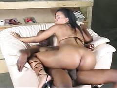 Ebony babe with big booty rides big black cock