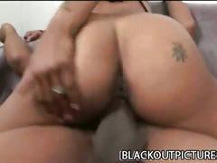 Thick black cock fucking skinny ebony slut