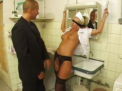 Blonde bitch gets tied up to suck cock