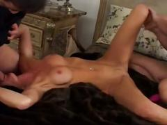 Horny blonde bitch gets fucked by two