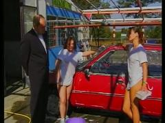 Brunette car wash babes sizzles outdoor