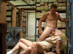 Blondie blows and bangs in the warehouse