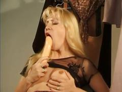 Horny blonde pussy playing bitch
