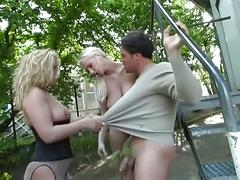 Lesbian blonde hotties kicking his balls hardcore