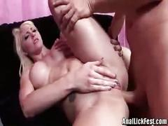 Butt plugging blonde double team