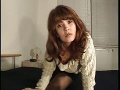 Hot young brunette amateur german babe masturbating in a empty room